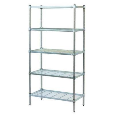Zinc Lacquered Post Style Shelving With Wire Shelves