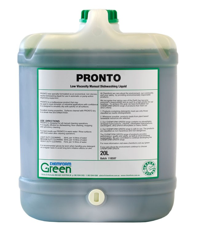 Image of Pronto Dishwashing Liquid Low Viscosity 20ltr (1)