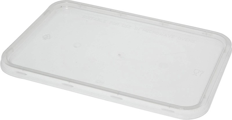 Clear Rectangular Takeaway Lid To Suit Containers 500 - 1000ml 50/Pkt
