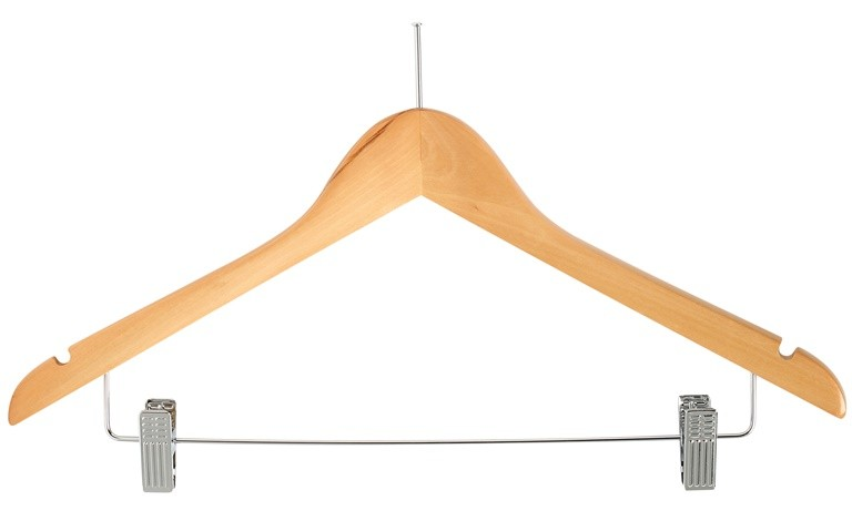 Image of Coat Hanger Pilferproof Wood With Metal Clips (Rings Sold Seperatley)