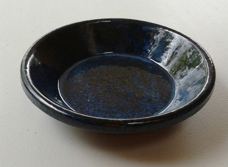 Image of Tapas/Garlic Prawn Ceramic Dish 130mm Blue Glazed