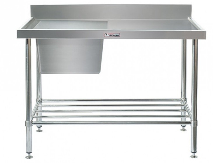 Simply Stainless 600 Series Sink Bench Left Bowl With Splashback