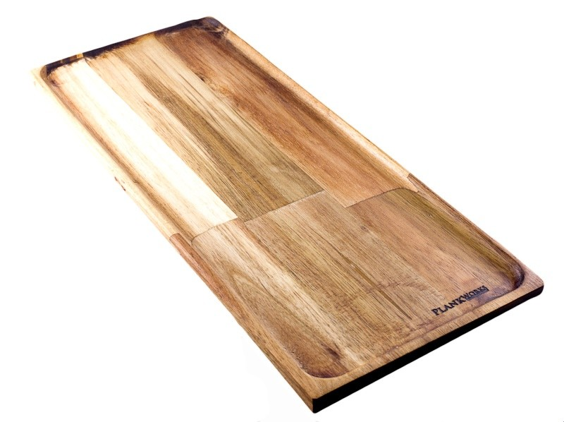 Image of PlankWorks Acacia Serving Board 350 x 150mm W/Tray Cut & Cove.d Edge