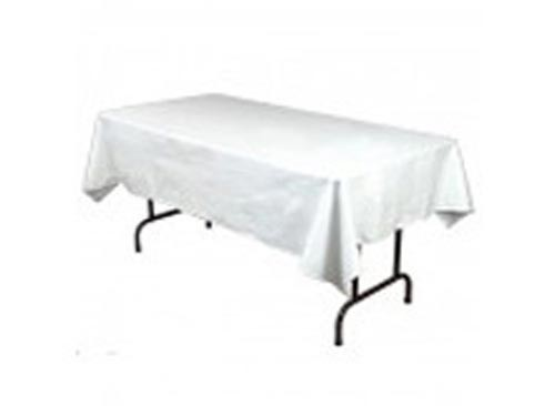 Image of Tablecloth White 100% Poly 8Ft Tressel Table