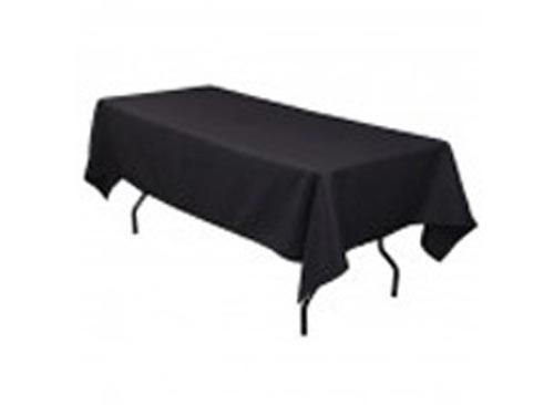 Image of Tablecloth Black 100% Poly 6Ft Tressel Table