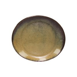 Image of Artistica Oval Plate Reactive Brown 295 x 250mm