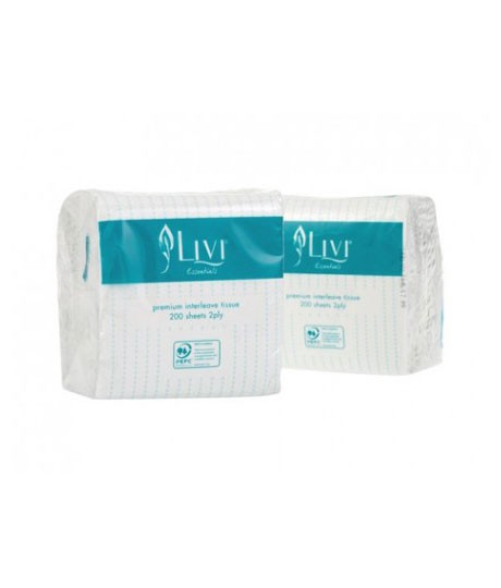 Livi Essentials 2ply Interleaved Toilet Tissue 200s (1006) 45/Ctn