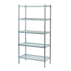 Mantova 5 Tier Zinc Lacquered Post Style Shelving With Wire Shelves