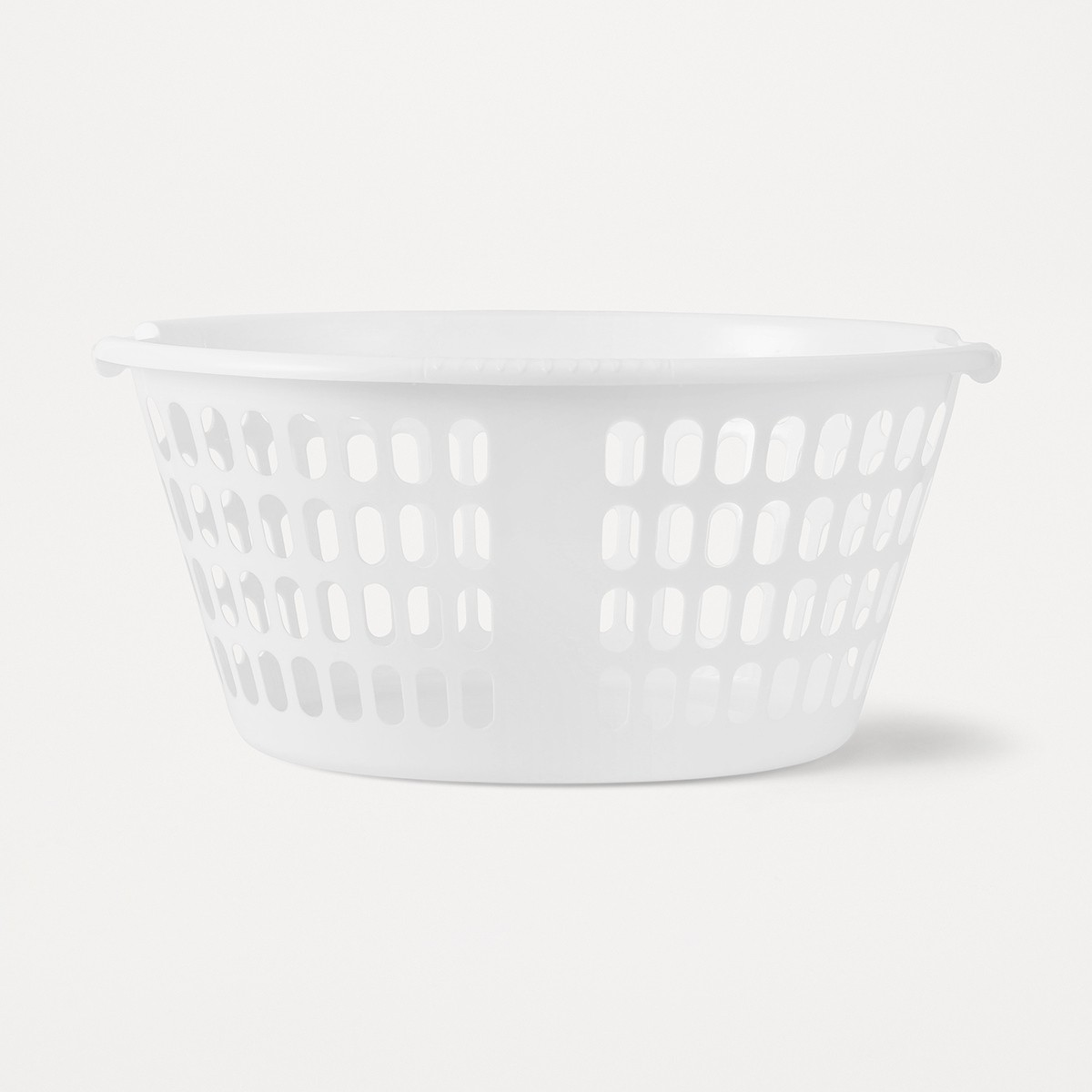 Image of Laundry Basket Oval Plastic White W/Handles