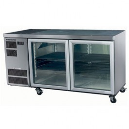 SKOPE SLIMLINE CC300 U/COUNTER FRIDGE INTEGRAL WHITE 2 GLASS DOORS