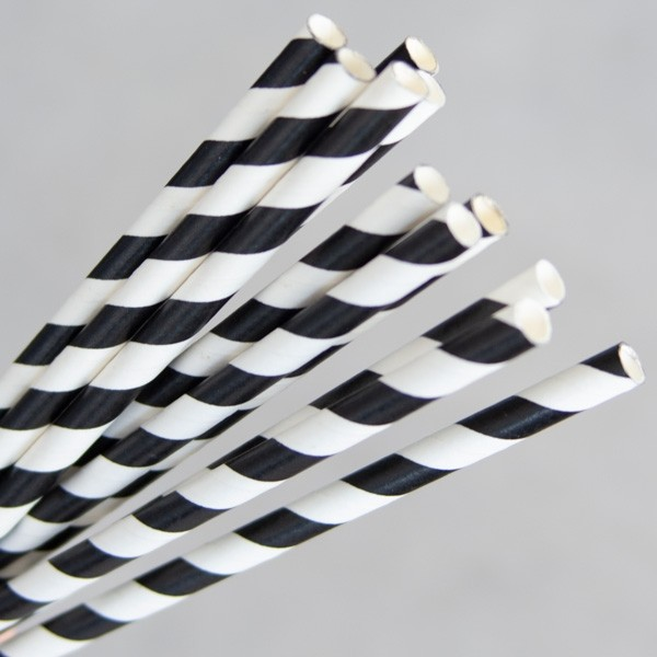 Straw Paper 205mm Black/White Swirl 250/Pkt