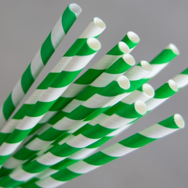 Straw Paper 205mm Green/White Swirl 250/Pkt
