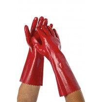 Image of Glove PVC Water Resistant Red 40cm
