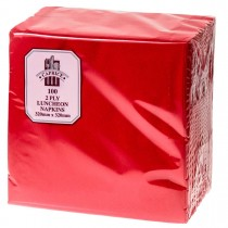 Caprice 2ply Lunch Napkin QTR Fold Red 100/Pkt