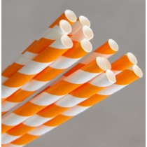 Straw Paper 205mm Orange/White Swirl 250/Pkt