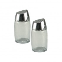 Image of Salt & Pepper Shaker Glass Base Slant Chrome Top