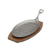 Image of Steak Sizzler Cast Iron Wooden Base 290 x 180mm