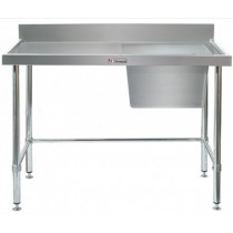 Simply Stainless 700 Series Sink Bench Right Bowl With Splashback & Leg Brace