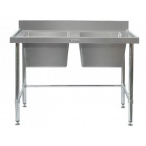 Image of Simply Stainless 700 Series Double Sink Work Bench With Splashback & Leg Brace
