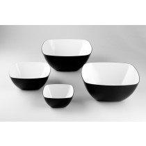 Image of Melamine Square Bowl Black & White 200mm