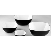 Image of Melamine Square Bowl Black & White 290mm