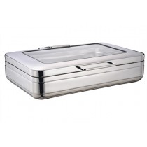 Induction Chafer Rectangular 1/1 Sizer S/S With Glass Lid