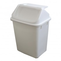 Bin Swing Top Plastic White 30ltr