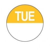 "Food Safety Labels Round 24mm Removable ""Tuesday"" Yellow 1000/Roll"