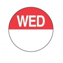 "Food Safety Labels Round 24mm Removable ""Wednesday"" Red 1000/Roll"
