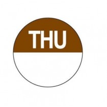 "Food Safety Labels Round 24mm Removable ""Thursday"" Brown 1000/Roll"