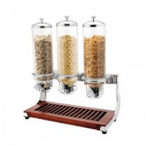 Cereal Dispenser Triple 3 x 4ltr With Wooden Base (1)