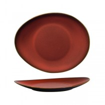 Luzerne Rustic Crimson Oval Coupe Plate 290 x 245mm