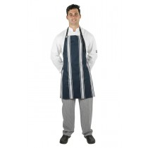 APRON BUTCHERS BIB NAVY/WHITE VERTICAL STRIPE