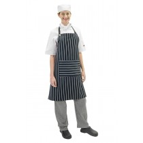 Apron Chef Bib Navy And White Stripe Woven With Pocket