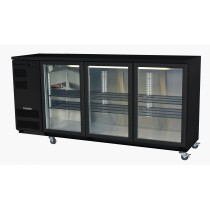 SKOPE BACKBAR BB580 U/COUNTER FRIDGE INTEGRAL BLACK 3 SWING DOORS