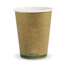 Biopak BCK-12-GS BioCups 12oz Single Wall Green Stripe Kraft