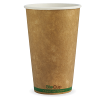 Biopak BCK-16-GS BioCups 16oz Single Wall Green Stripe Kraft