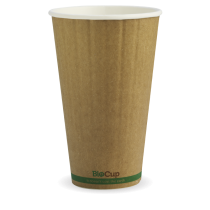 Biopak BCK-16DW-GS BioCup 16oz Double Wall Green Stripe Kraft