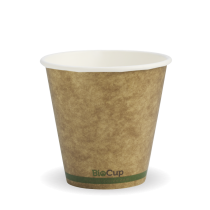 Biopak BCK-8-GS(90) BioCups 8oz 90mm Single Wall Green Stripe Kraft