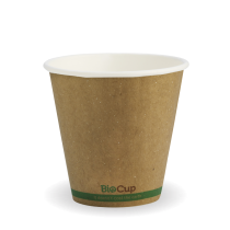 Biopak BCK-8DW-GS(90) BioCup 8oz 90mm Double Wall Green Stripe Kraft