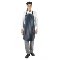Apron Chef Bib Navy And White Stripe Woven
