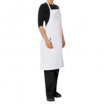 APRON BIB WHITE WITH POCKET