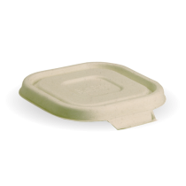 Biopak B-SLBL-N Biocane Takeaway Lid Only To Suit Square Base 280/480/630ml Natural (600)