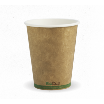 Biopak BCK-8-GS Hot Drink Cup Single Wall 8oz Kraft With Green Stripe (1000)