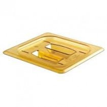 Cambro 60HPCH Food Pan Cover With Handle 1/6 Size Amber