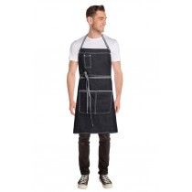 Chef Works Apron Bib Bronx Black Denim