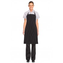 CHEF WORKS APRON BIB CHALKSTRIPE BLACK