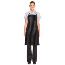Chef Works Designer Bib Apron Black Chalk Stripe