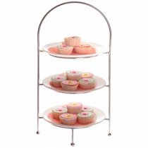 Image of Display Stand 3 Tier Round Plate Ring 220mm