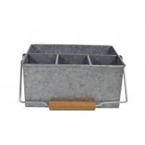 Coney Island 4 Compartment Caddy With Handle Galvanised 250 x 180 x 115mm
